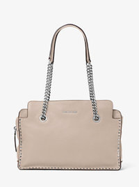 Astor Large Leather Satchel - CEMENT - 30T6SATS3L