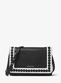 Analise Medium Appliqué Leather Messenger - BLACK/WHITE - 30T6SA4M2U