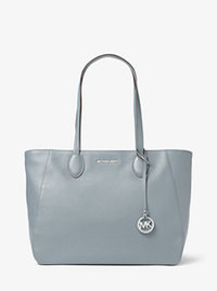 Ani Large Leather Tote - DUSTY BLUE - 30T6SA7T3L