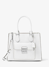Bridgette Medium Saffiano Leather Tote - OPTIC WHITE - 30T6SBDT2L