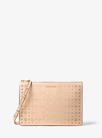 Ava Large Perforated-Leather Convertible Clutch - LT PEACH - 32T6GAVU3U
