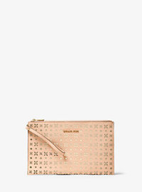 Jet Set Travel Extra-Large Perforated-Leather Clutch - LT PEACH - 32T6GTVW4U