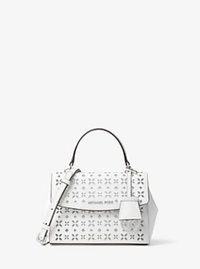 Ava Extra-Small Perforated-Leather Crossbody - WHITE/SILVER - 32T6SAVC5U