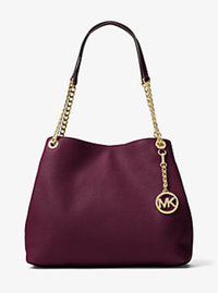 Jet Set Large Leather Shoulder Bag - PLUM - 30H6GTCE3L