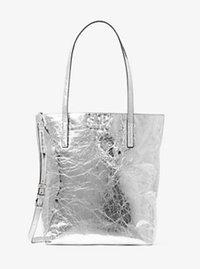 Emry Large Crinkled-Leather Tote - SILVER - 30H6ME4T3M