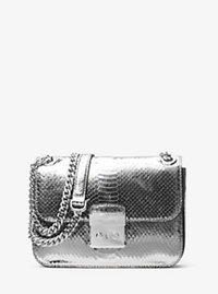 Sloan Editor Medium Embossed-Leather Shoulder Bag - SILVER - 30H6MS9L6M
