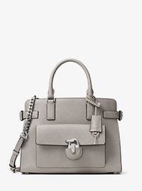 Emma Saffiano Leather Satchel - PEARL GREY - 30H6SENS2L