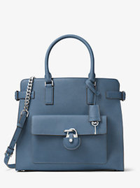 Emma Large Saffiano Leather Tote - CORNFLOWER - 30H6SENT3L