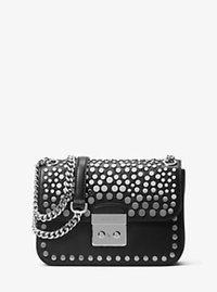 Sloan Editor Medium Studded Leather Shoulder Bag - BLACK - 30H6SJ9L2T