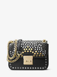 Sloan Editor Medium Studded Leather Shoulder Bag - BLACK - 30H6TJ9L2T