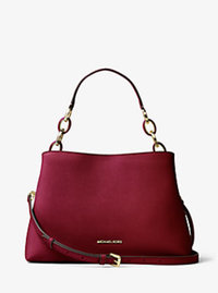 Portia Large Saffiano Leather Shoulder Bag - CHERRY - 30T6GPAL3L