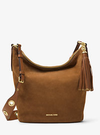 Brooklyn Large Grommet Suede Feed Bag - CARAMEL - 30F6ABNL3S