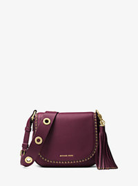 Brooklyn Medium Leather Saddlebag - PLUM - 30F6ABNM2L