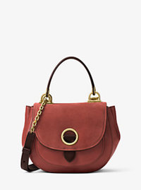 Isadore Medium Suede Satchel - BRICK - 30F6AIXM2S