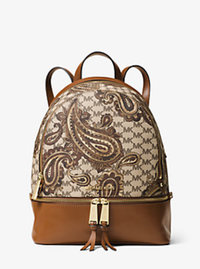 Rhea Paisley Zip Medium Backpack - LUGGAGE - 30F6APIB2V
