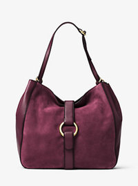 Quincy Large Suede and Leather Shoulder Tote - PLUM - 30F6AQYE3S
