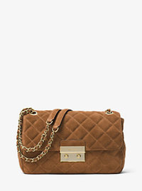 Sloan Large Quilted-Suede Shoulder Bag - CARAMEL - 30F6ASLL3S