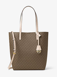 Hayley Large Logo North-South Tote - MOCHA/BISQUE - 30F6GH3T7V