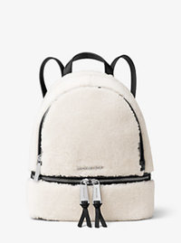 Rhea Small Shearling and Leather Backpack - NATURAL/BLACK - 30F6SEZB2F