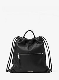 Rhea Medium Leather Drawstring Backpack - BLACK - 30F6SEZB2T