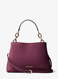 Portia Large Saffiano Leather Shoulder Bag - PLUM - 30T6GPAL3L