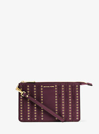 Brooklyn Medium Grommet Suede and Leather Wristlet - PLUM - 32F6ABHW2S