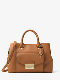 Haley Large Leather Satchel - ACORN - 30F6GILS3L