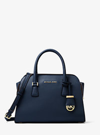 Harper Medium Leather Satchel - NAVY - 30F6GRPS2L