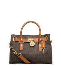 Hamilton Medium Logo Satchel - BROWN - 30T2GHMS3B