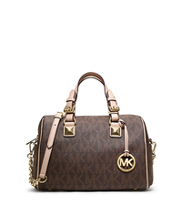 Grayson Medium Logo Satchel - BROWN - 30F2GGCS2B