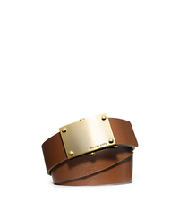 Leather Plaque Belt - LUGGAGE - 553336