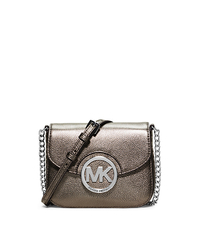 Fulton Small Metallic Leather Crossbody - GUNMETAL - 32H2GFTC1M