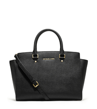 Selma Large Saffiano Leather Satchel - BLACK - 30S3GLMS7L