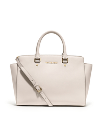 Selma Large Saffiano Leather Satchel - VANILLA - 30S3GLMS7L