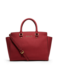 Selma Large Saffiano Leather Satchel - RED - 30S3GLMS7L