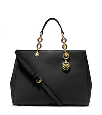 Cynthia Large Saffiano Leather Satchel - BLACK - 30S3TCYS3L