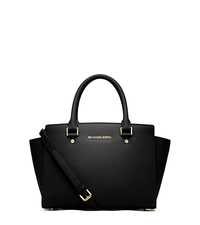 Selma Saffiano Leather Medium Satchel - BLACK - 30S3GLMS2L