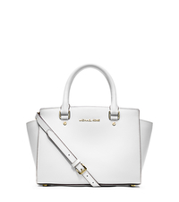 Selma Saffiano Leather Medium Satchel - OPTIC WHITE - 30S3GLMS2L