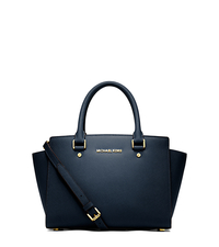 Selma Saffiano Leather Medium Satchel - NAVY - 30S3GLMS2L