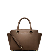 Selma Saffiano Leather Medium Satchel - DARK DUNE - 30S3GLMS2L