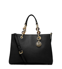 Cynthia Medium Leather Satchel - BLACK - 30S3TCYS2L