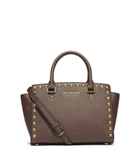 Selma Medium Studded Saffiano Leather Satchel - DARK DUNE - 30T3GSMS2L