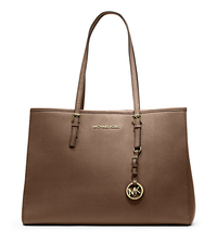 Jet Set Travel Saffiano Leather Tote - DARK DUNE - 30T3GTVT7L