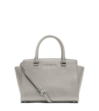 Selma Medium Saffiano Leather Satchel - PEARL GREY - 30T3SLMS2L