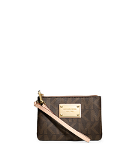 Logo Small Wristlet - BROWN - 32T3GJSW1B