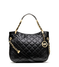Susannah Quilted Leather Medium Tote - BLACK - 30F3GAHE2L