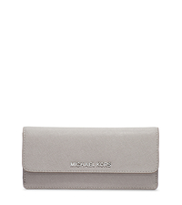 Jet Set Travel Saffiano Leather Wallet - PEARL GREY - 32F3STVE7L