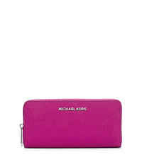 Jet Set Travel Leather Continental Wallet - FUCHSIA - 32T3STVE3L