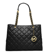 Susannah Quilted Leather Large Tote - BLACK - 30H3GAHT3L
