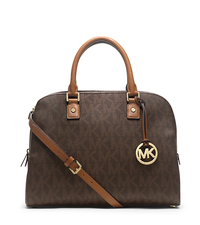 Jet Set Travel Logo Large Satchel - BROWN - 30H3GTVS3B